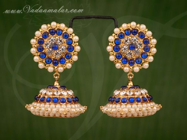 Blue Color Kemp Stone with Pearl Jhumkis Traditional South India Earrings