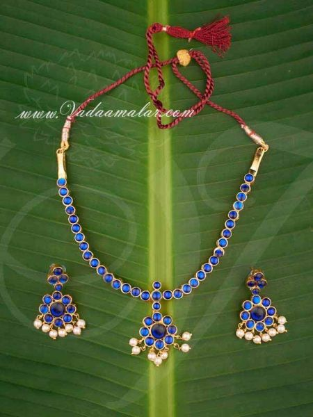 Kemp Necklace Blue Color kemp necklace with Matching Earring Set Buy Now