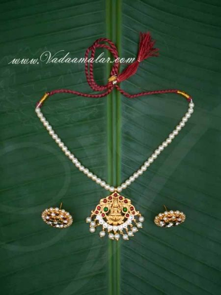 Simple Pearl String With Kemp and White Stones Pendent with Earring Indian Jewelry Ornament Buy