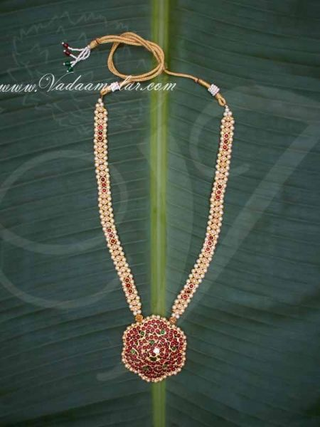 Kemp Necklace Temple Jewellery with Pearls MuthuMalai Available online