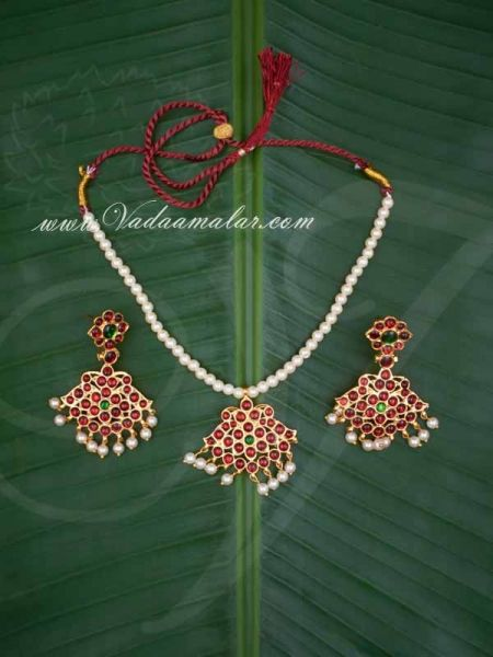 Simple Pearl String With Kemp Stones Pendent with Earring Indian Jewelry Ornament Buy
