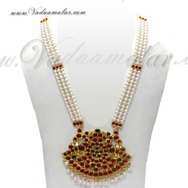 Temple Jewellery Tradtional Pearl Strings Necklace Mothi Mala Shop online