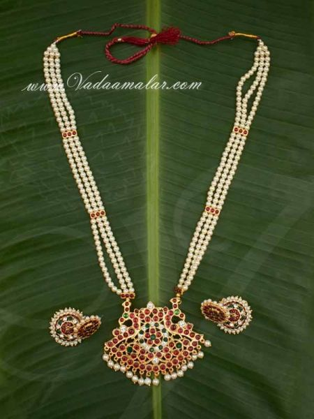Kemp Necklace Temple Jewellery with Pearls MuthuMalai and Jhumka Set Available online