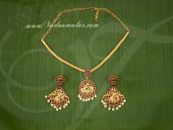 Kemp Necklace Red Color kemp necklace with Matching Earring Set Buy Now