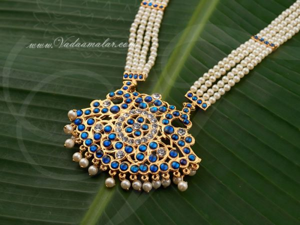 Blue color Kemp Long Pearl Necklace Buy Bharatanatyam Jewelery Online