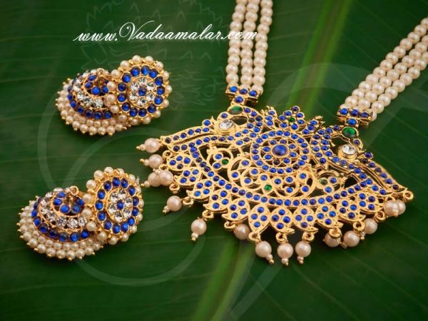 Tradtional Temple Jewel Design India Pearl Strings Necklace and Earring Set