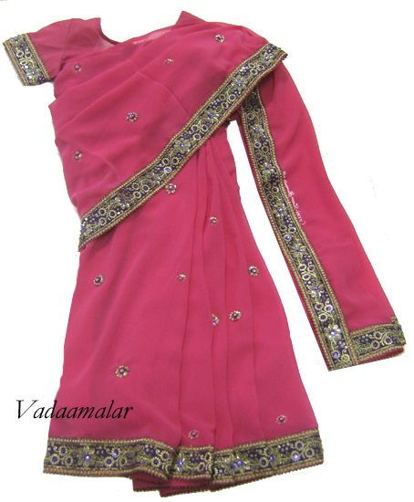 Light Pink color ready to wear pre-pleated saree costume for kids