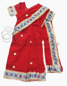 Hot Red Color Girls kids Saree ready to wear sarees & choli costume