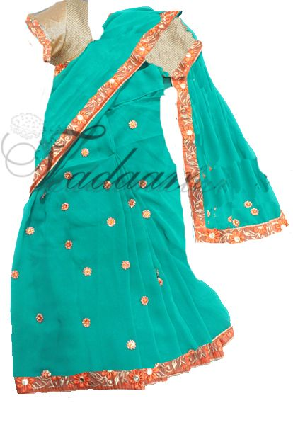Ready made Saree Easy to wear Sari with stitched choli blouse Indian costume