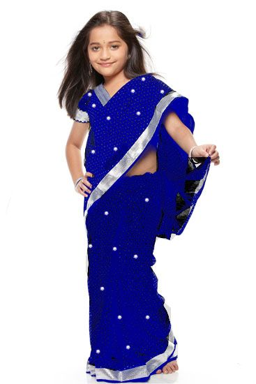 Ink Blue color ready to wear pre-pleated saree costume for kids