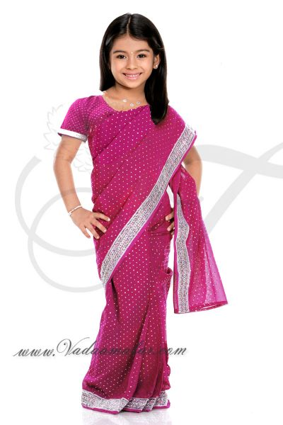 Pink color ready to wear pre-pleated saree costume for kids