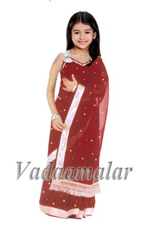 Maroon Girls Childrens Ready made Sarees pleated India Indian saree costume