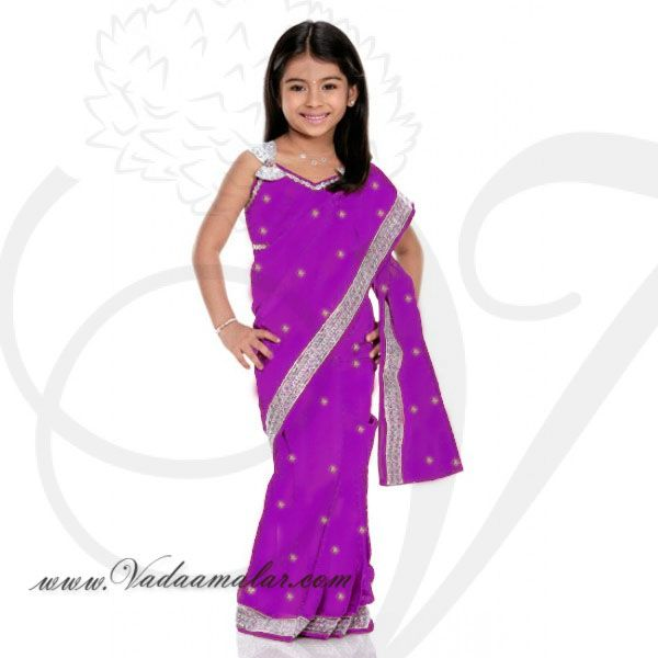 Purple Girls Childrens Ready made Sarees pleated India Indian saree costume