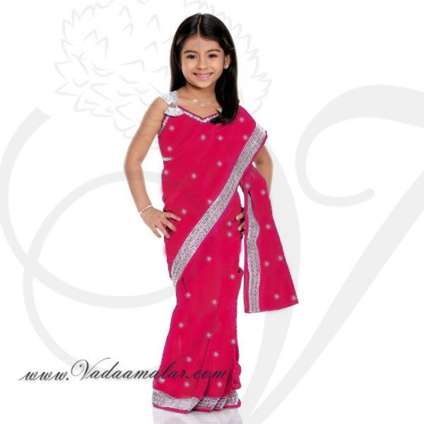 Pink Girls Childrens Ready made Sarees pleated India Indian saree costume