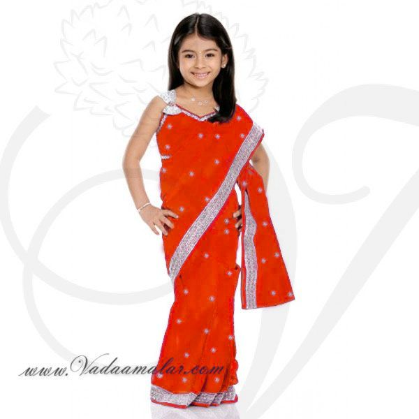 Orange Color Girls Childrens Ready made Sarees pleated India Indian saree costume