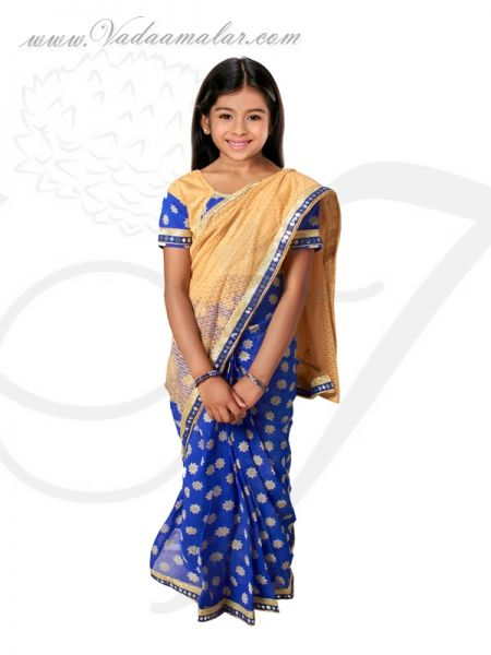Blue Color India Girls Children Costume Readytowear Pre-pleated India Indian sarees