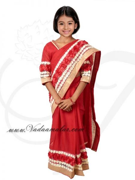 Red Color India Girls Children Costume Readytowear Pre-pleated India Indian sarees