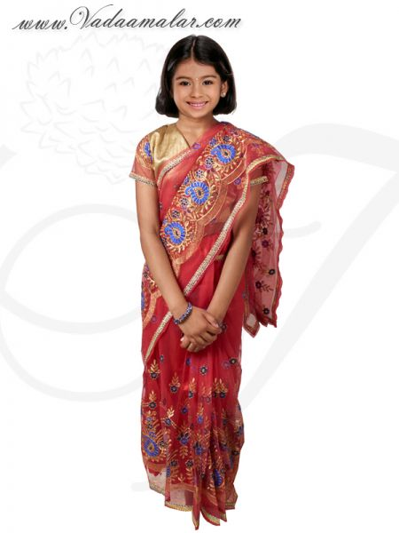 Kids Ready Made Sarees Red and Blue Color Pleated  Indian Saree Costume Buy Now