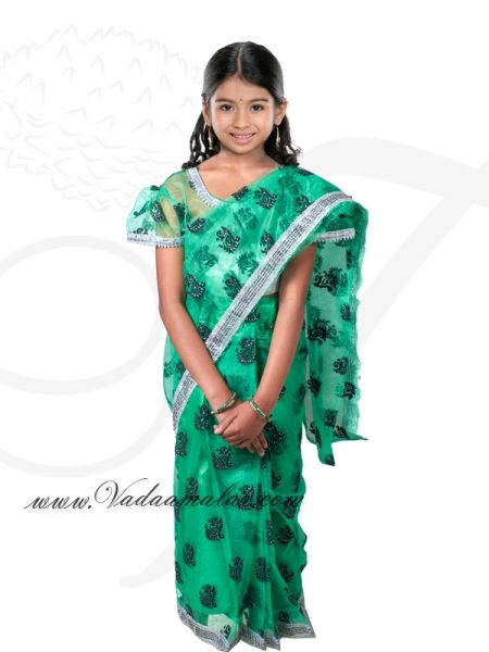 Green Color India Girls Children Costume Readytowear Pre-pleated India Indian sarees
