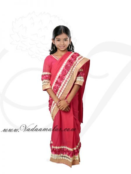 Pink Color India Girls Children Costume Readytowear Pre-pleated India Indian sarees