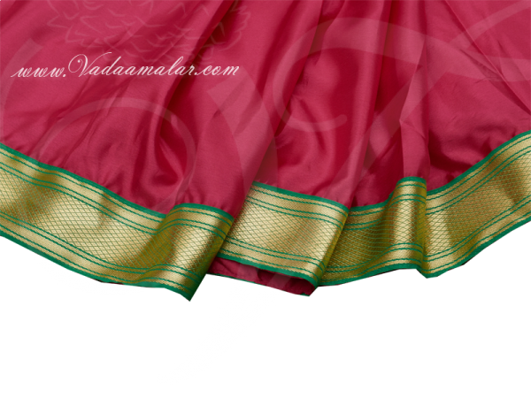 Kids Ready made Sarees Pink and Green Color pleated India Indian saree costume