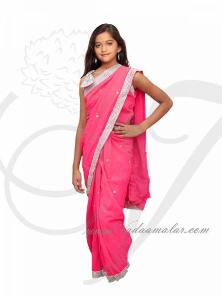 Pink ready to wear pre-pleated saree costume dress for kids buy now