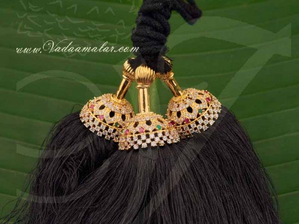 American Diamond and Ruby Stones End of Hair Jewellery Indian jewelry Buy Now