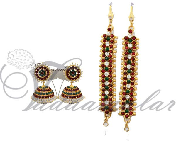 Bharatanatyam Earrings with mattal Ear chain in red white and green kempu with pearl Jumkis