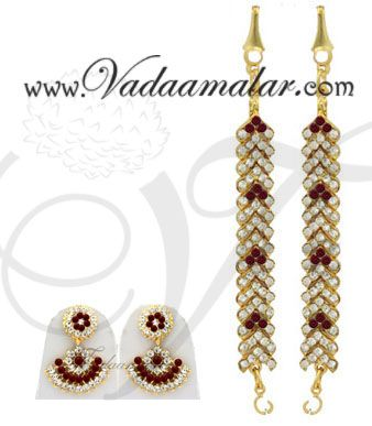 Dazzling ear extension mattal earrings white and maroon stones