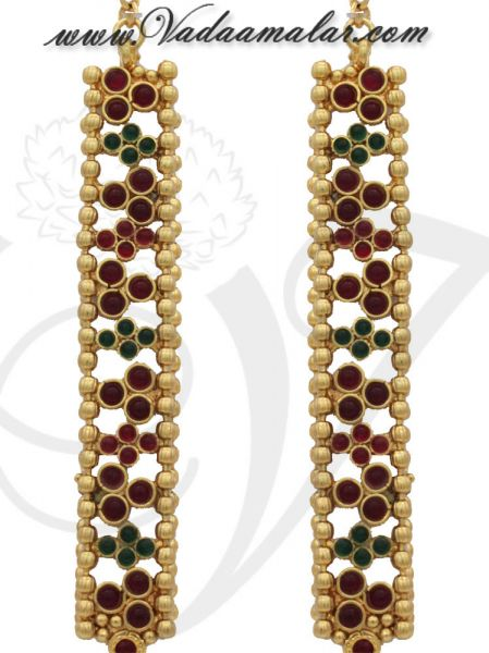 Antique Design Earrings with Kan Chain Extension Radish Pink and Green Stones Jhumkas