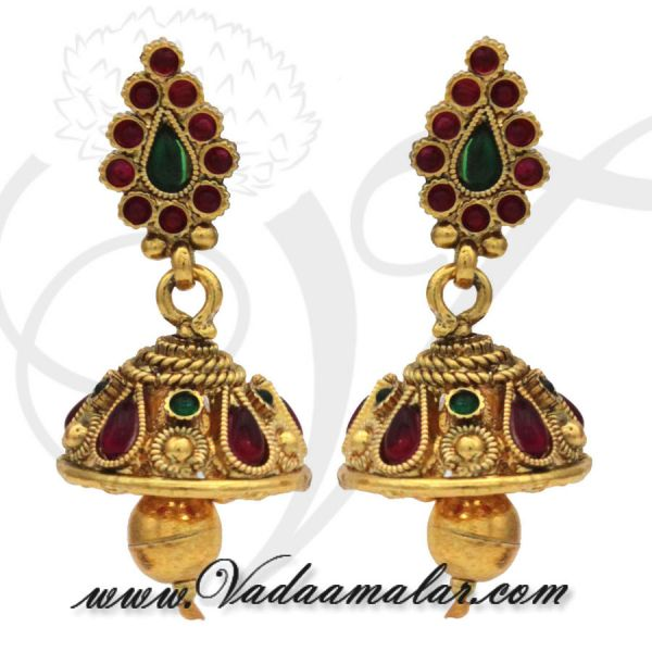 Antique Design Earrings with Kan Chain Extension Mattal Radish Pink and Green Stones Jhumkas
