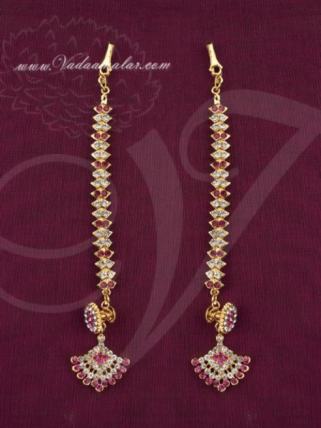 Dazzling ear extension mattal earrings white and pink stones