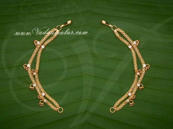 Ear extension ear to hair chain white color stones for Saree & Salwar