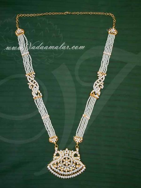 Kathak Necklace Pearl Pendant Classical Dance Jewelry For Sarees Buy