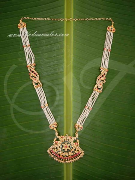 Haaram Pearl with LCD Stones Pendant Classical Dance Jewelry For Sarees Buy Now