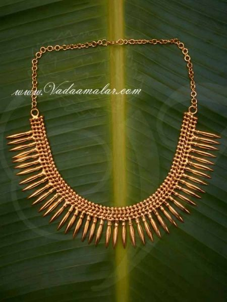 Traditional Kerala Design Gold Colour Short Necklace buy now