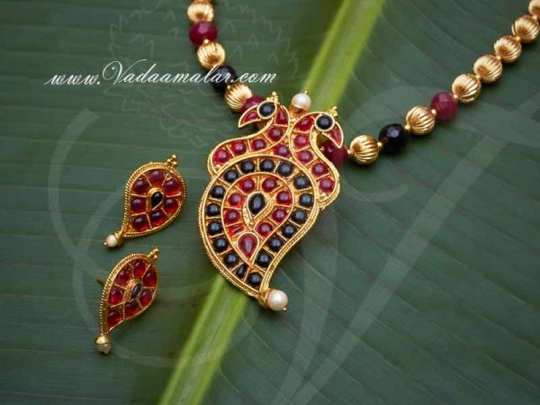 Necklace Mango Design Pendent with Beads Earring set for Saree Salwar Buy
