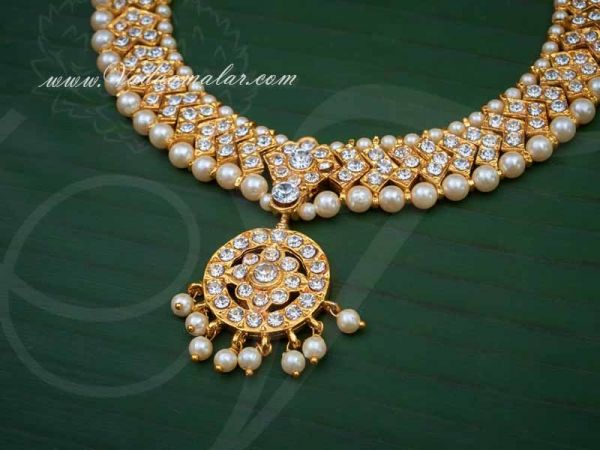 Sparkling White Stones Closed Neck Necklace Indian Jewellery Choker Ornament Buy