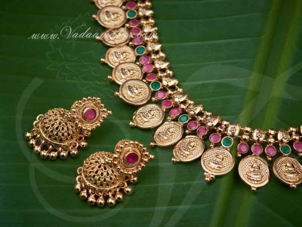 Gold Plated Coin Necklace with matching Earring Set for Women buy now