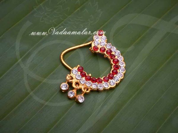 Deity Nath White and Maroon Stone Nose Ring Nath Amman Ornaments