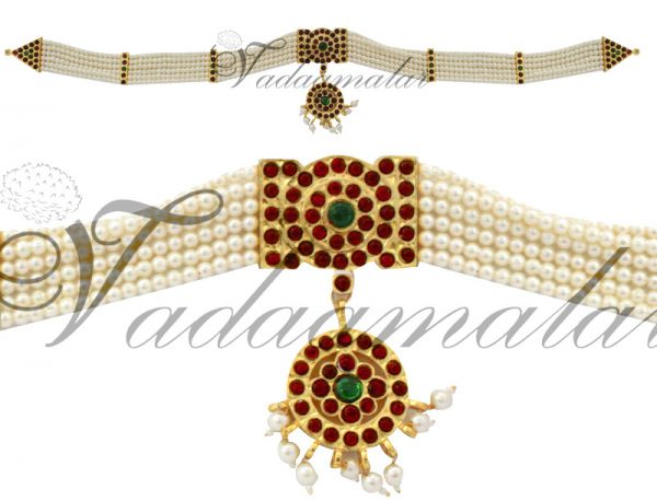 Waist Jewelry Pearl Red Stones Kamarband and India Hip Bands