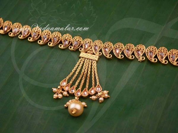 Antique Kundan Stone Oddiyanam Kamarpatta Indian Waist Hip Belt Chain