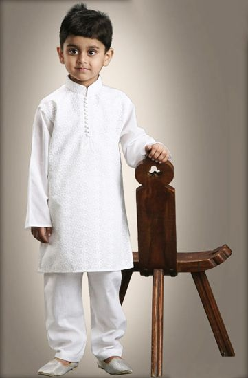 White embroidered Boy Kids Childrens Kurtha Kurta Pajama Payjama Collar neck