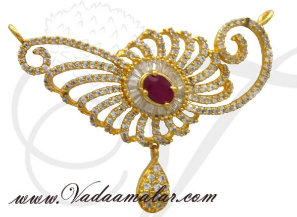 American diamond and ruby stones pendant for traditional sarees and salwars