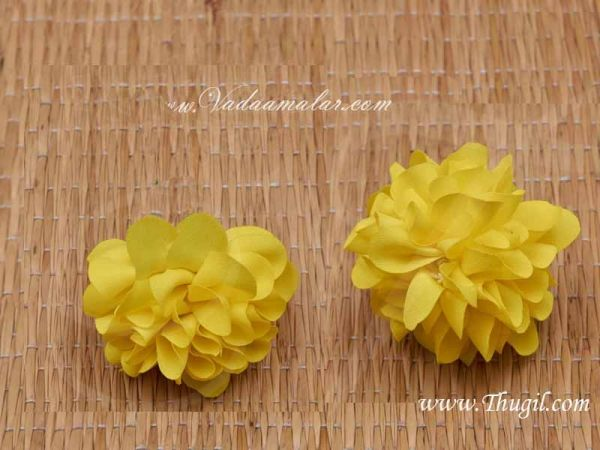 Yellow Marigold Flower Samanthi With Out Cap Cloth Flower Decoration Crafts buy online - 25 pieces