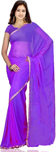 Purple Synthetic Chiffon Indian Bollywood Saree Sarres farbic with gold border