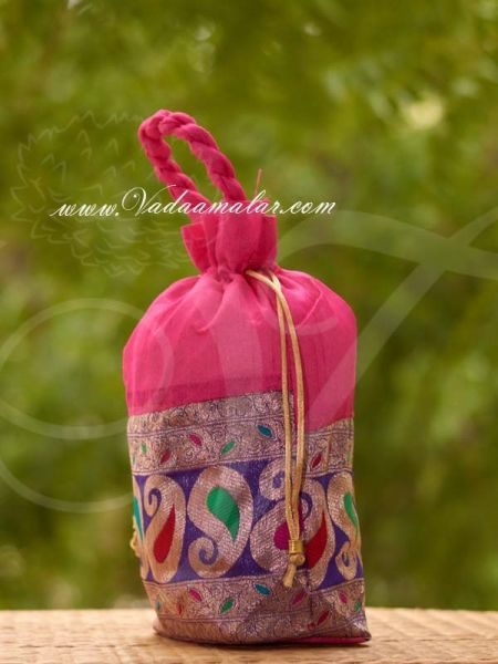 11 x 8 Potli Bag Flower Mango Design with wide golden lace Wedding Return Gift Buy Now