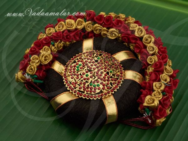 Traditional South Indian Bridal Hair Band Ring Red Gold Rose Jewellery Buy Now