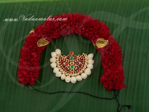 Indian Wedding Hair Jewellery with Red Color Flower Bharatanatyam Dances Buy Now