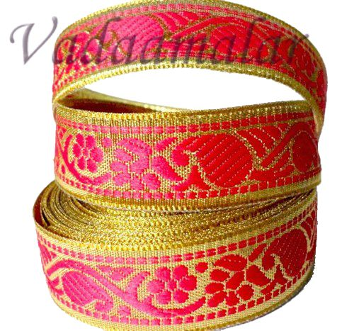 0.5 inch Pink  Gold Trim Lace Buy online End Borders - 16 meters / 17.5 yards